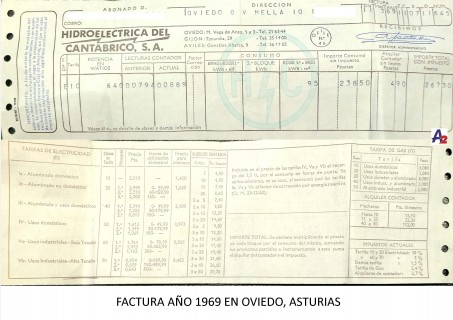 Factura electricidad domestica 1969